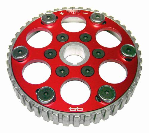TT Adjustable Camshaft Sprocket 8V. Red Anodized Aluminum Face