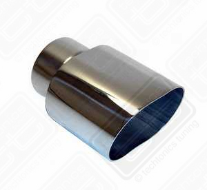"Stainless Oval Exhaust Tip (4"" x 2.5"") Clamp-on"