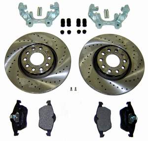 Drilled Brake Rotor kit 12.3 inch Upgrade for 98-05 Passat and 9