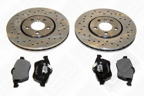 Drilled Brake Rotor kit w/pads (11.3 in. 5 Lug 1996-1999 Mk3 VR6