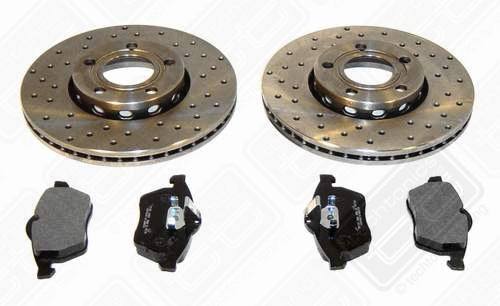 "Drilled Brake Rotor kit w/pads 11.3"" 5 Lug Passat 7/'98-'05 1.8t"